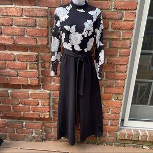 Black Pantsuit White Ribbon Flowers Large Like NEW